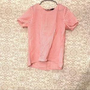 J Crew Vertical Stripe Bubblegum Pink Blouse